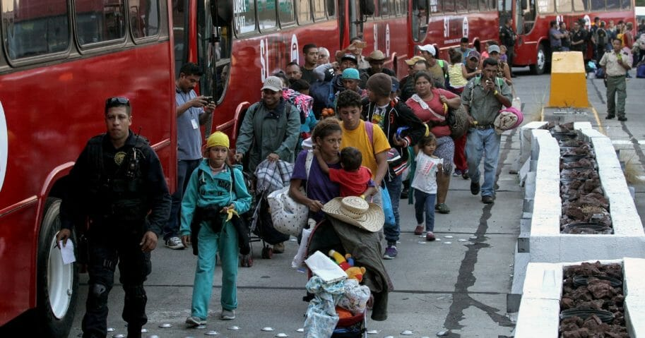 Central American migrants -mostly Hondurans- moving in a caravan towards the United States.