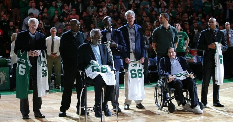Members of the 1966 Boston Celtics Championship team are honored on the court at halftime of the game between the Boston Celtics and the Miami Heat at TD Garden on April 13, 2016 in Boston.