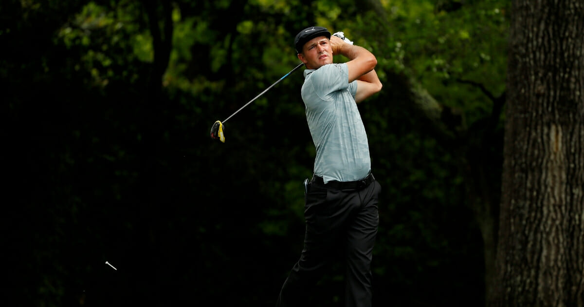 Bryson DeChambeau of the United States plays his shot from the second tee during the second round of the Masters at Augusta National Golf Club on April 12, 2019 in Augusta, Georgia.