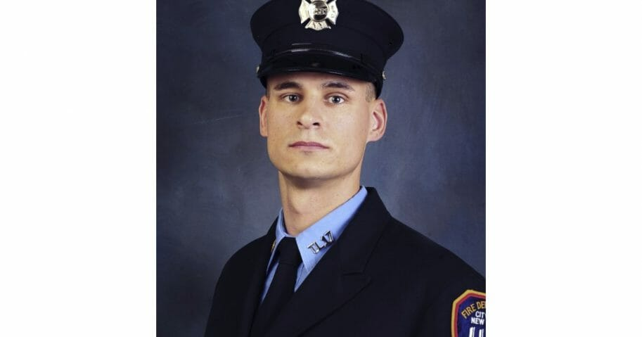 This undated photo, provided in New York, Tuesday April 9, 2019, shows Fire Department of New York firefighter Christopher Slutman.