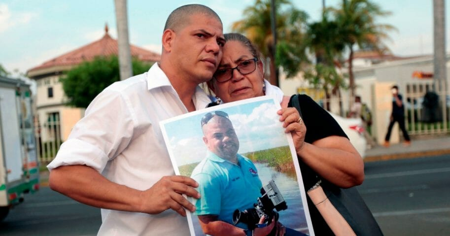 The mother and brother of journalist Angel Gahona -who died during anti-government protests.