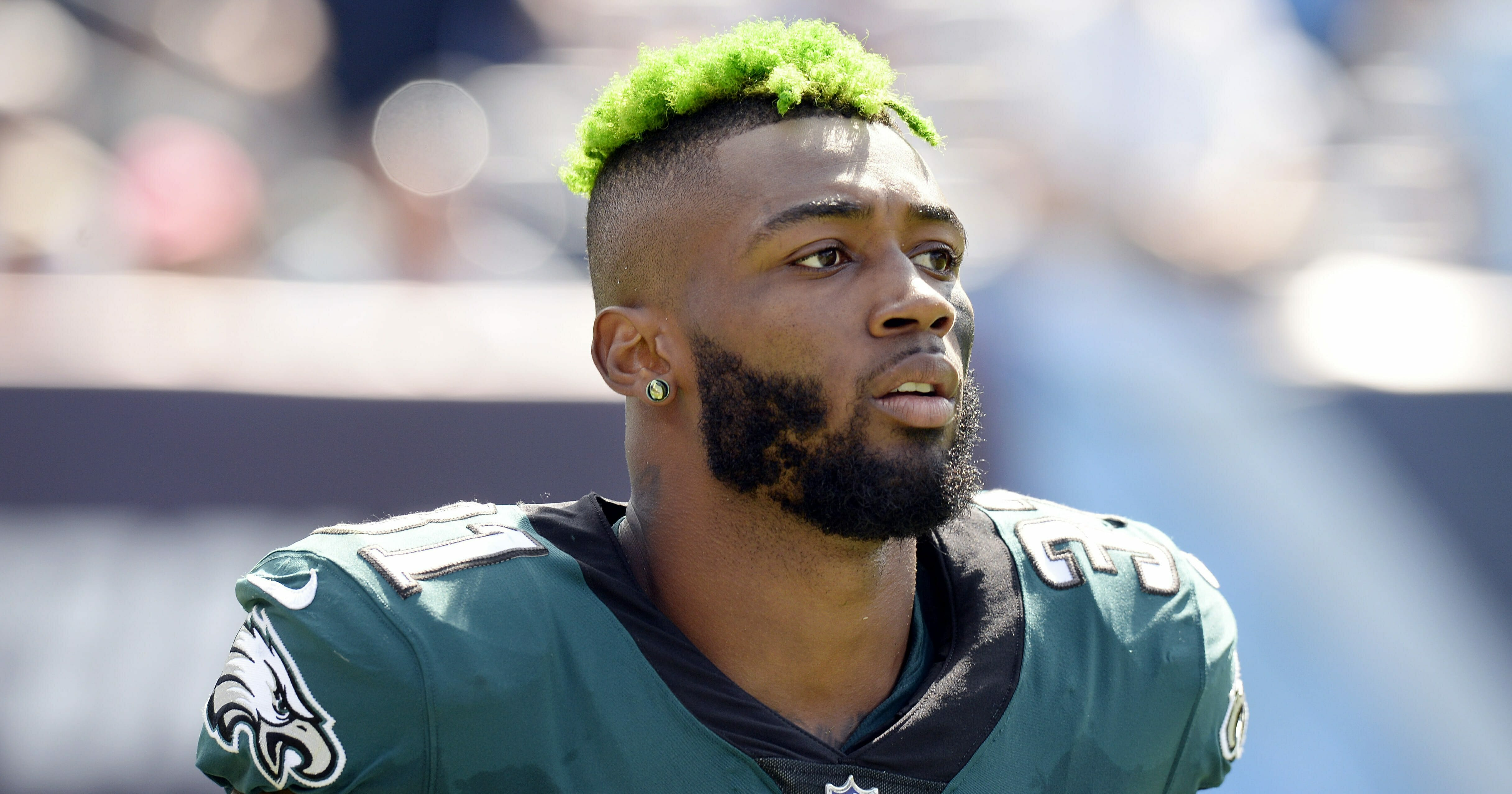 In this Sept. 30, 2018, file photo, Philadelphia Eagles defensive back Jalen Mills walks on the sideline during the second half of an NFL football game against the Tennessee Titans in Nashville, Tenn.