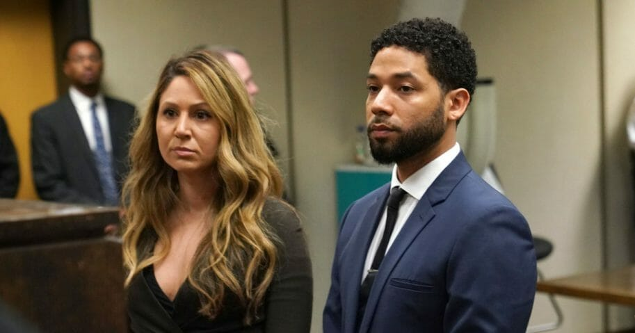 Actor Jussie Smollett attends Leighton Criminal Court with his attorney Tina Glandian (left) on March 14, 2019, in Chicago.