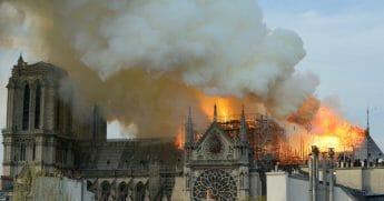 Fire rages through the iconic Notre Dame Cathedral on April 15, 2019 in Paris, France.