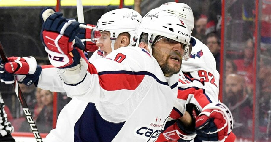 Alex Ovechkin of the Washington Capitals celebrates after an apparent goal in the third period of Game Six of the Eastern Conference First Round during the 2019 NHL Stanley Cup Playoffs at PNC Arena on April 22, 2019 in Raleigh, North Carolina.