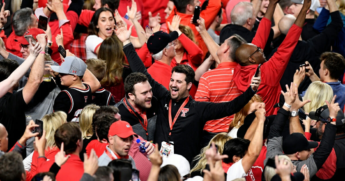 Texas Tech Red Raiders fans celebrate in the second half during the 2019 NCAA Final Four semifinal between the Texas Tech Red Raiders and the Michigan State Spartans at U.S. Bank Stadium on April 6, 2019 in Minneapolis.