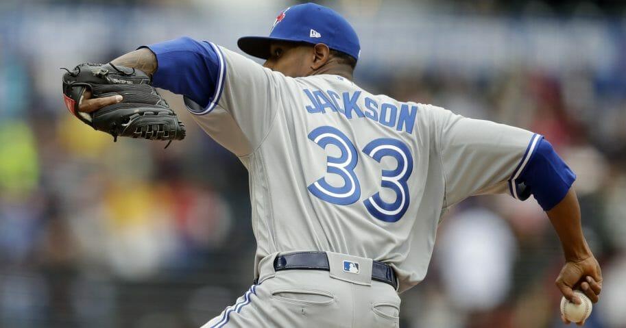 New Toronto Blue Jay Edwin Jackson pitching.