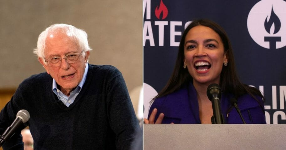 Democratic presidential candidate Sen. Bernie Sanders fields questions from audience members during a town hall at the Fort Museum on May 4, 2019, in Fort Dodge, Iowa, left. Rep. Alexandria Ocasio-Cortez (D-NY) speaks during a Congressional Iftar event at the U.S. Capitol May 20, 2019, in Washington, D.C., right.