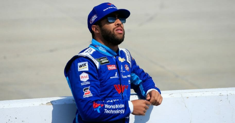 Bubba Wallace observes during qualifying for the Monster Energy NASCAR Cup Series Gander RV 400 at Dover International Speedway on May 3, 2019, in Dover, Del.
