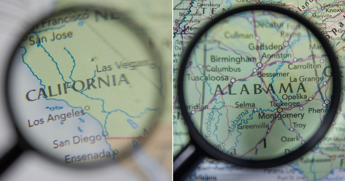 A map depicts California and Alabama, respectively.
