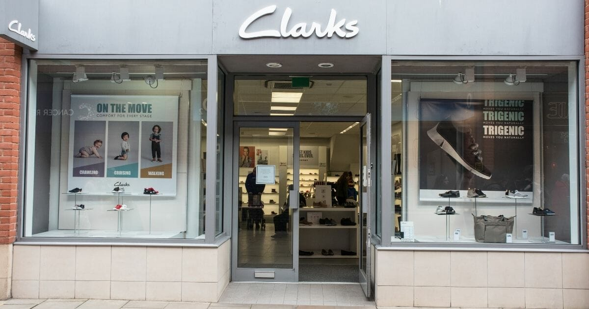 Entrance to Clarks shoe store.