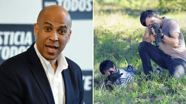 Sen. Cory Booker speaks during a meet-and-greet on April 18, 2019, in Las Vegas, Nevada, left. A father and son shoot in the woods, right.