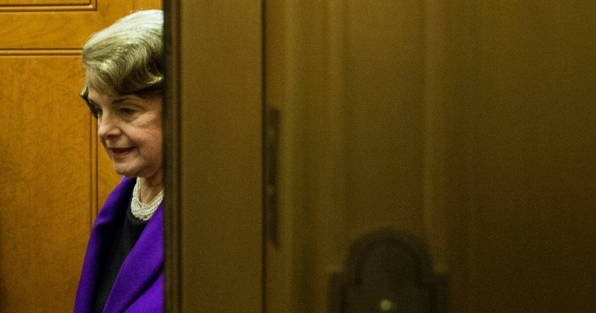 Sen. Dianne Feinstein on an elevator after leaving the Senate floor on Capitol Hill on May 31, 2015, in Washington, D.C.