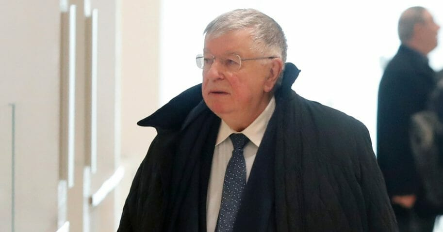 Former France Telecom Chief Executive Didier Lombard arrives at court in Paris on May 6, 2019.