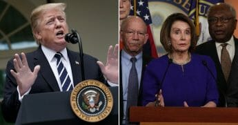President Donald Trump speaks about Robert Mueller's investigation into Russian interference in the 2016 presidential election in the Rose Garden at the White House May 22, 2019, in Washington, D.C., left. Speaker of the House Rep. Nancy Pelosi (D-CA) speaks to members of the media after she returned to the Capitol from a White House meeting with President Donald Trump May 22, 2019, in Washington, D.C., right.