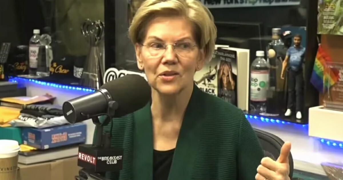 Democratic presidential hopeful Sen. Elizabeth Warren speaks during a campaign town hall at George Mason University on May 16, 2019, in Fairfax, Va.