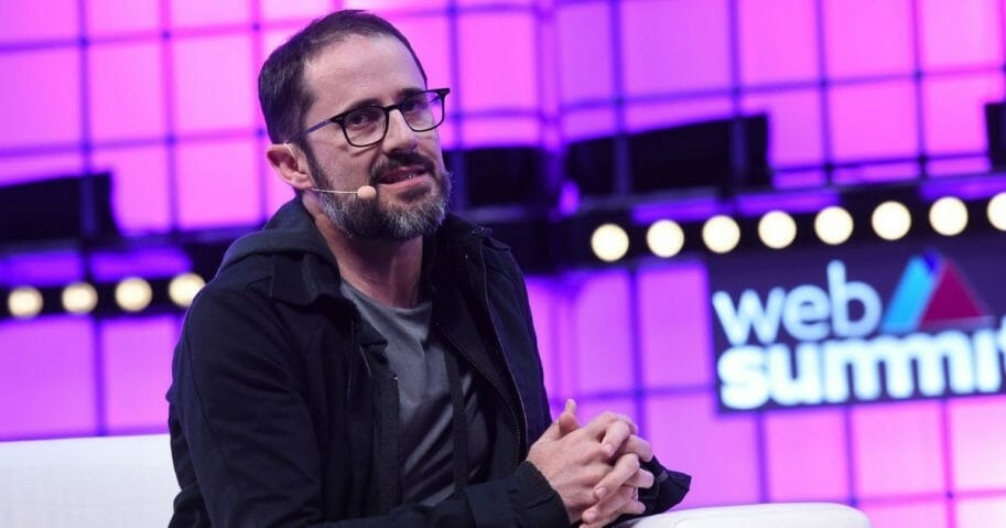 Ev Williams, co-founder of Twitter and chief executive officer of Medium, speaks during the Web Summit technology conference in Lisbon, Portugal, on Nov. 8, 2018.