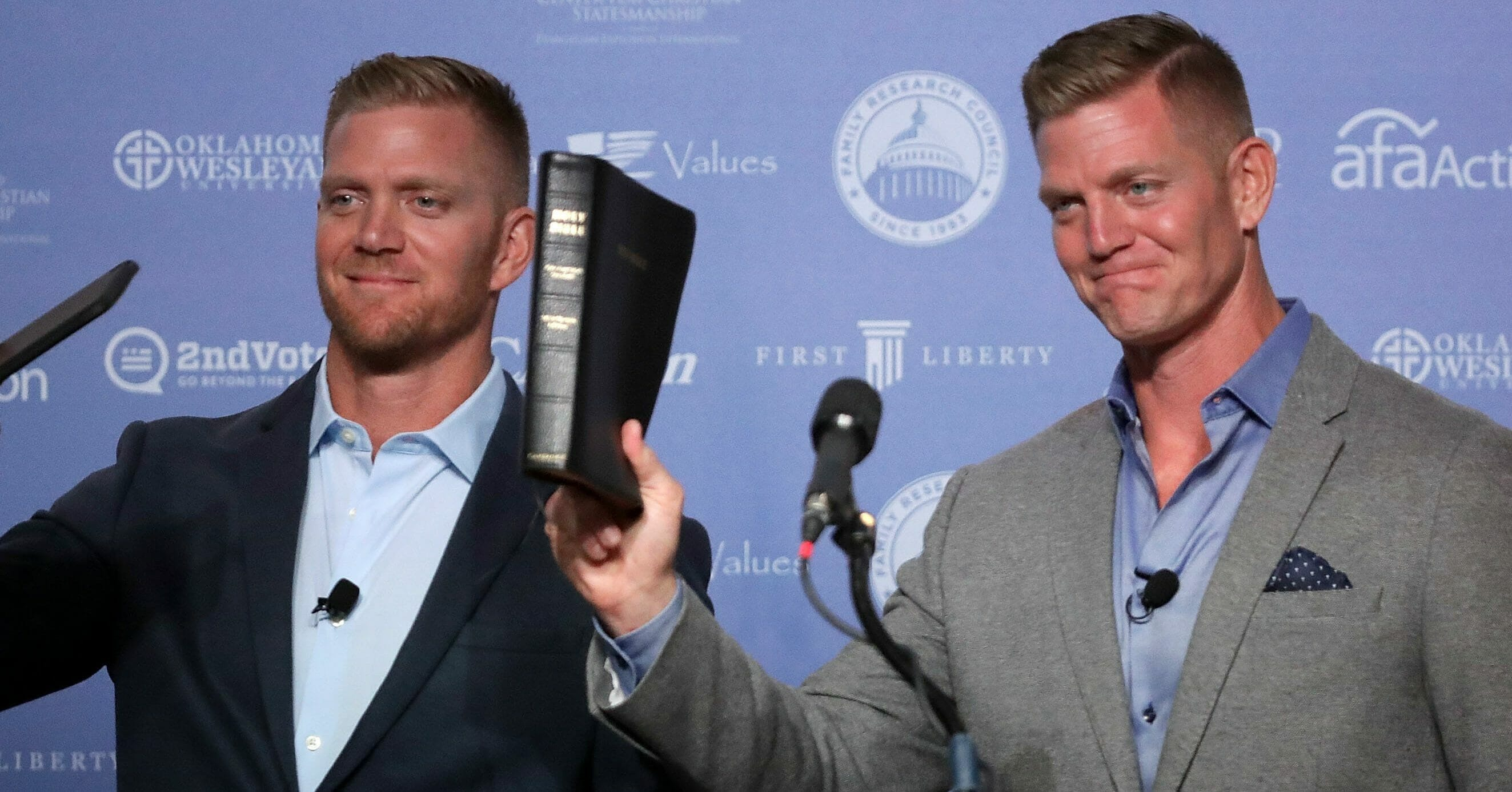 Twin brothers David and Jason Benham address the Values Voter Summit at the Omni Shoreham September 9, 2016 in Washington, DC. Hosted by the Family Research Council