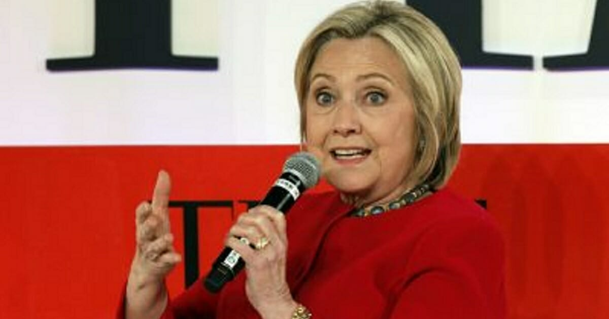 Former Democratic presidential candidate Hillary Clinton is pictured in an April 23 file photo from a Time magazine forum in New York.