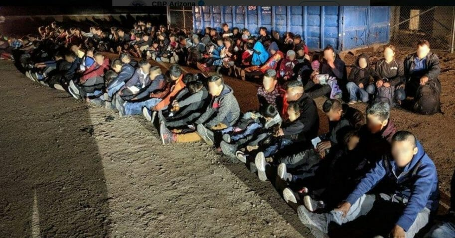Illegal immigrants apprehended on the U.S. southern border.
