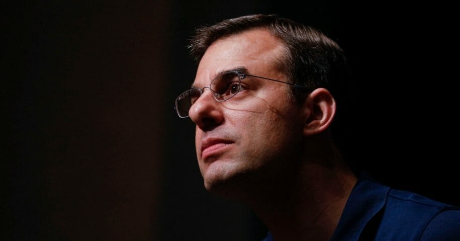 Michigan Rep. Justin Amash holds a town hall Meeting on May 28, 2019 in Grand Rapids, Michigan. Amash was the first Republican member of Congress to say that President Donald Trump engaged in impeachable conduct. (Bill Pugliano / Getty Images)