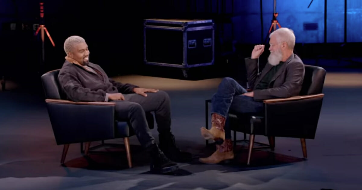 """Rapper Kanye West, left, defended his support for President Donald Trump in an interview with comedian David Letterman, right, reportedly telling the talk show host that """"liberals bully people"""" who support the president. (Netflix / YouTube screen shot)"""