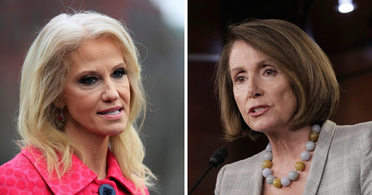 """White House adviser Kellyanne Conway, left, responded to House Speaker Nancy Pelosi of California, right, on Thursday after the stuck-up Democrat reportedly said she doesn't """"talk to staff."""" (Manuel Balce Ceneta / AP Photo; J. Scott Applewhite / AP Photo)"""