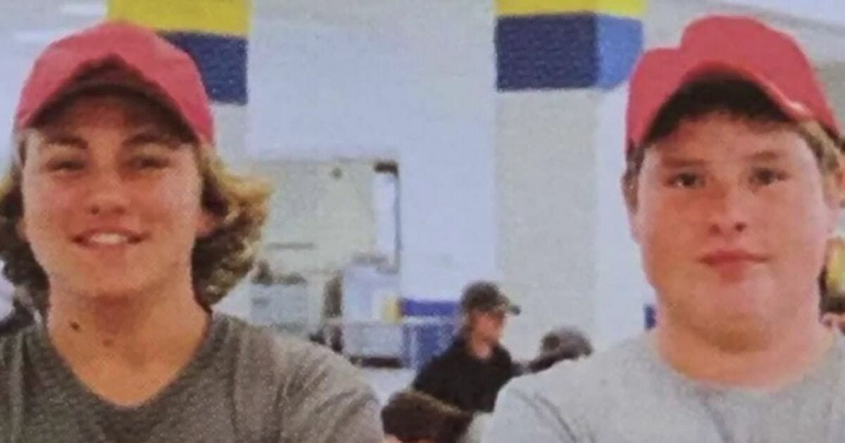 The MAGA hats of Littlestown High School student Jeremy Gebhart and a friend were blurred out in the school's yearbook.