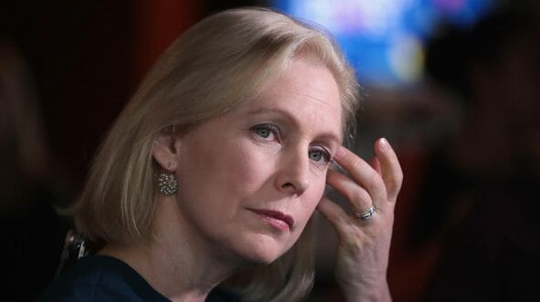 Democratic presidential candidate Sen. Kirsten Gillibrand listens to guests during a campaign event at Papa Keno's restaurant on April 17, 2019, in Des Moines, Iowa.