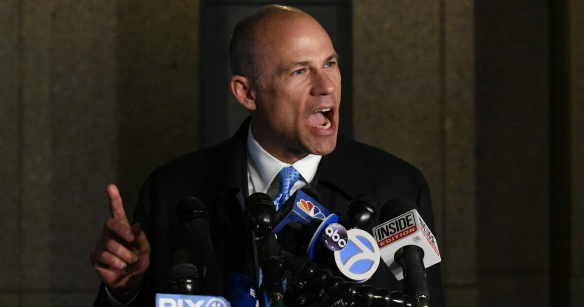 Michael Avenatti, the former lawyer for adult film actress Stormy Daniels and a fierce critic of President Donald Trump, speaks to the media after being arrested for allegedly trying to extort Nike for $15-$25 million on March 25, 2019 in New York City. (Stephanie Keith / Getty Images)
