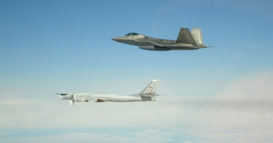 NORAD fighters intercepted Russian bombers and fighters off Alaskan coast.