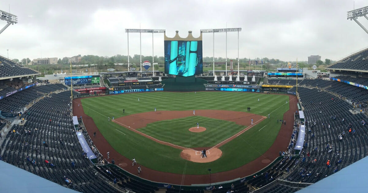 Few fans visited Kauffman Stadium for a game between the Kansas City Royals and Tampa Bay Rays.