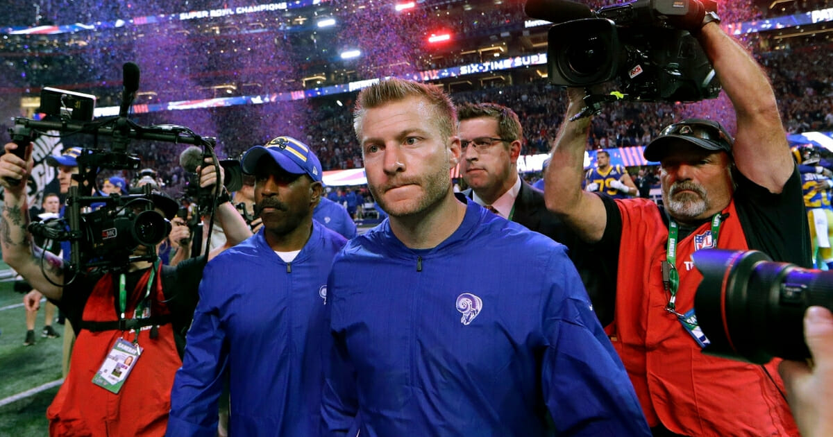 Los Angeles Rams head coach Sean McVay leaves the field after his team lost Super Bowl LIII to the New England Patriots on Feb. 3, 2019, in Atlanta.