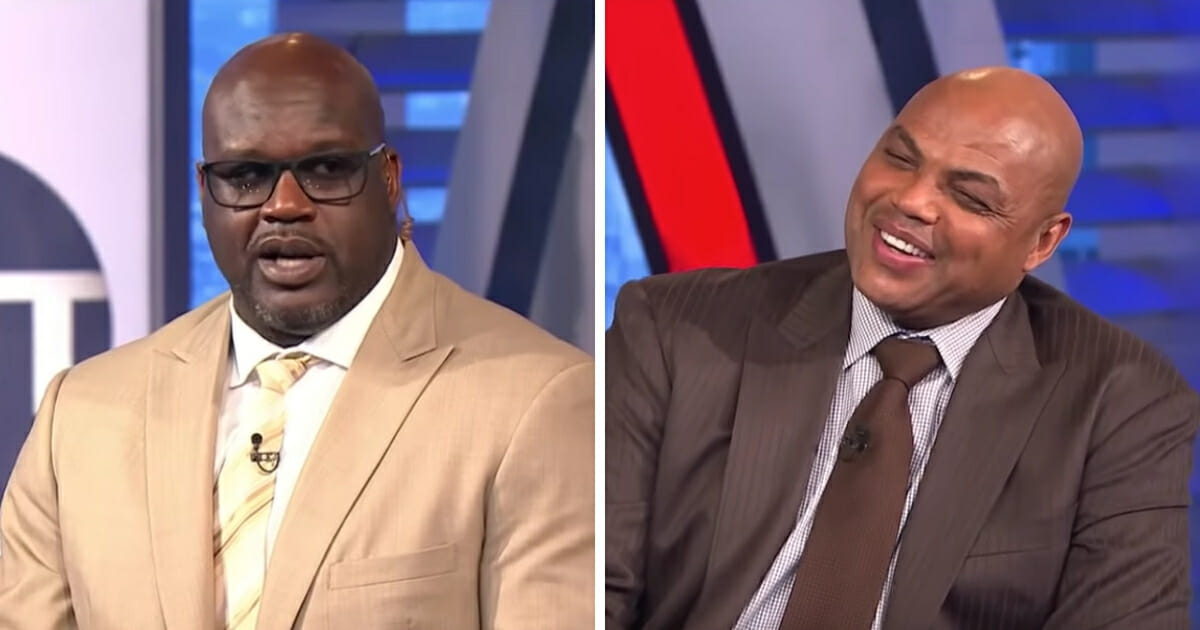 """TNT """"Inside the NBA"""" hosts Shaquille O'Neal, left, and Charles Barkley, right."""
