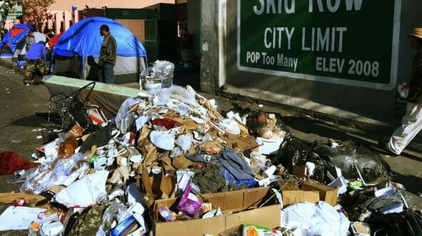 a pile of trash in Skid Row, Los Angeles