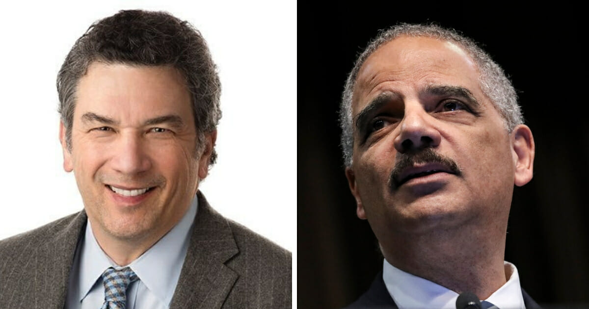 Former Attorney General Eric Holder, right, took a big swing at AG Barr. Then former Reagan-era Justice Department official Solomon Wisenberg, left, put Holder in his place. (@WisenbergSol / Twitter; Drew Angerer / Getty Images)