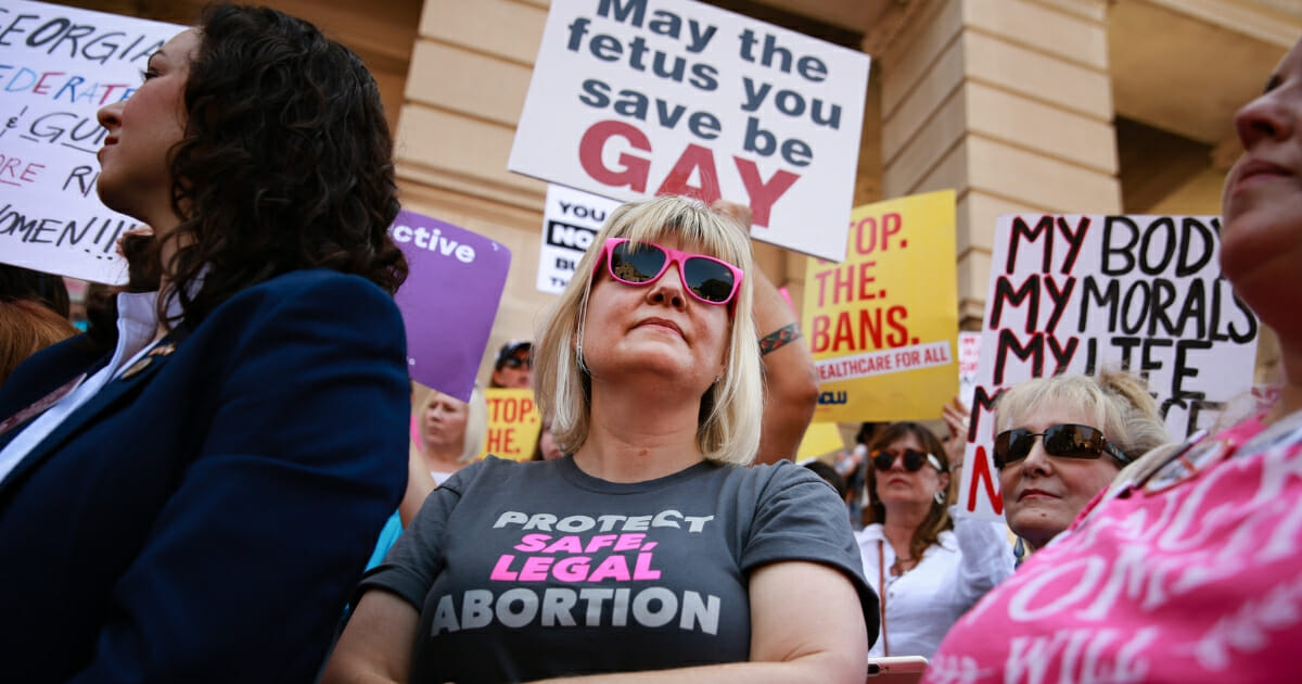 Staci Fox, CEO and president of Planned Parenthood Southeast, participates in a protest against recently passed abortion ban bills at the Georgia State Capitol building on May 21, 2019 in Atlanta, Georgia. (Elijah Nouvelage / Getty Images)