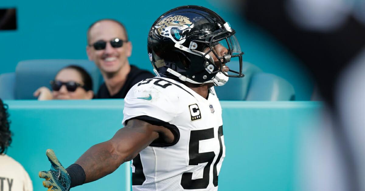 Jacksonville Jaguars outside linebacker Telvin Smith celebrates a touchdown Dec. 23, 2018, in Miami Gardens.
