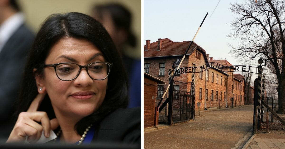 Rep. Rashida Tlaib opposite the front gate of Auschwitz