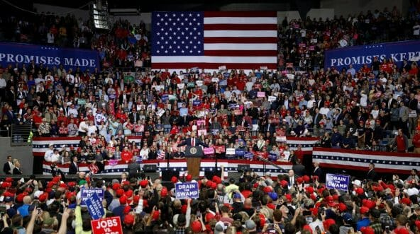 President Donald Trump speaks during a campaign rally for Republican Senate candidate Mike Braun at the County War Memorial Coliseum Nov. 5, 2018, in Fort Wayne, Indiana.