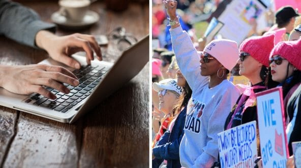Man writing at keyboard, left; liberal protesters, right.