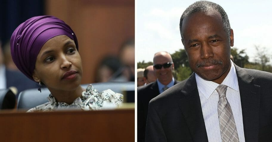 Rep. Ilhan Omar, left; HUD Secretary Benjamin Carson, right.