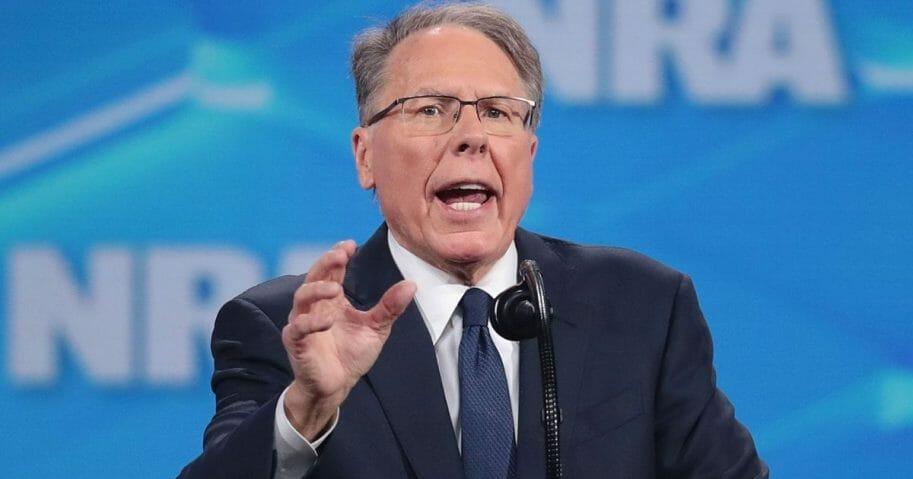 NRA Vice President and CEO Wayne LaPierre speaks at the NRA convention in April in Indianapolis.