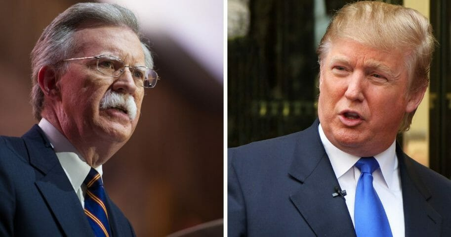 National Security Advisor John Bolton, left; and President Donald Trump, right.