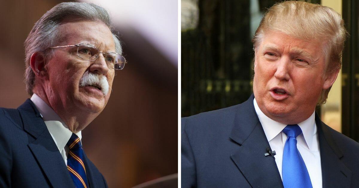 National Security Advisor John Bolton, left; and President Donald Trump, right.