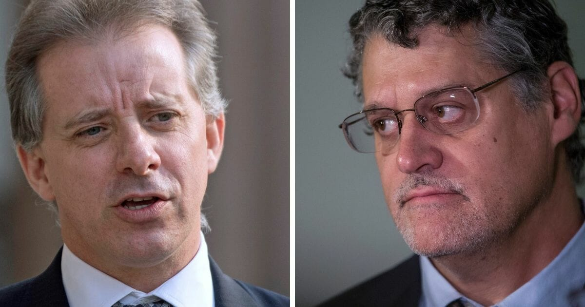 Former British intelligence agent Christopher Steele, left; and Fusion GPS founder Glenn Simpson, right.