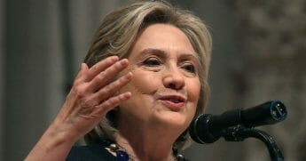 Former Secretary of State Hillary Clinton delivers an address at a memorial service for former Rep. Ellen Tauscher, a California Democrat who died last month.