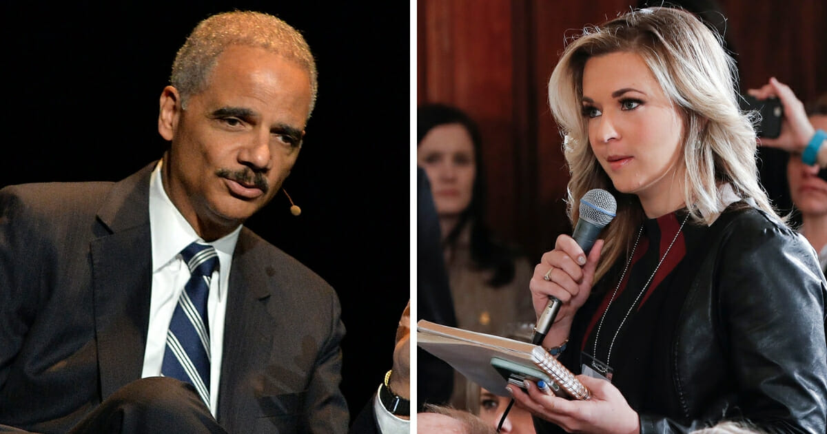Former Attorney General Eric Holder, left; and conservative commentator Katie Pavlich, right.