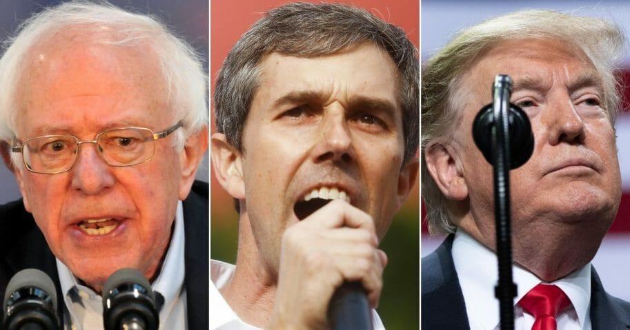 Democratic Sen. Bernie Sanders; Democratic presidential candidate Beto O'Rourke; President Donald Trump.