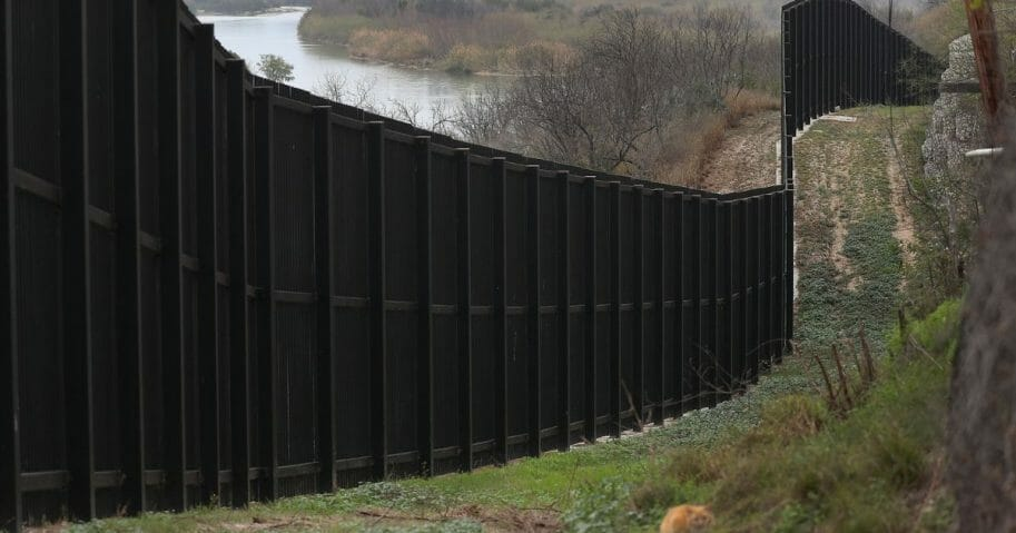 A border fence is seen near the Rio Grande which marks the boundary between Mexico and the United States on Feb. 9, 2019, in Eagle Pass, Texas.